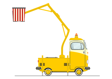 Cartoon cherry picker. Flat vector. Illustration