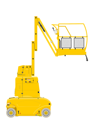 Yellow vertical mast lift. Side view. Flat vector.