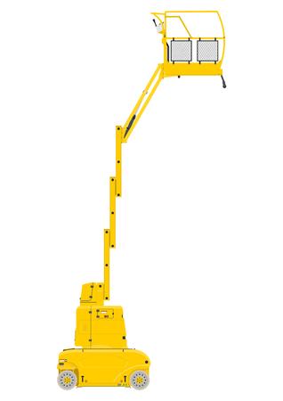 Elevador de mástil vertical amarillo. Vista lateral. Vector plano Foto de archivo - 78702402
