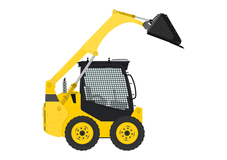 skid loader: Yellow skid steer loader