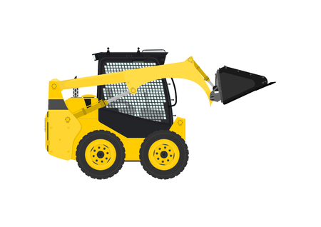 skid: Yellow skid steer loader