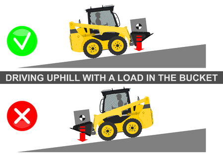 Skid steer loader safety tips. Driving uphill. Flat vector.