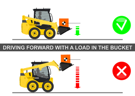 skid: Skid steer loader safety tips. Driving forward with a load. Flat vector.