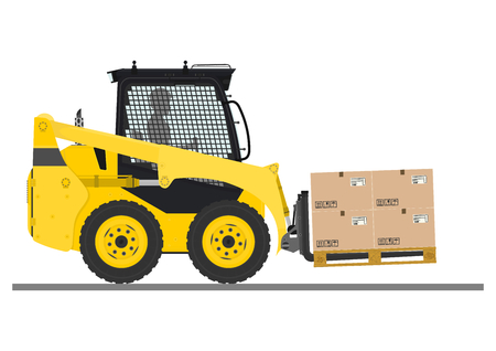 dangerous construction: Skid steer loader safety tips. Driving forward with a load. Flat vector.