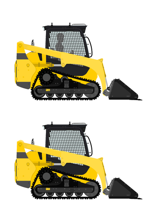 heavy construction: Compact track loader. Side view. Flat vector.