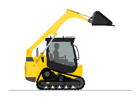 skid: Compact track loader. Side view. Flat vector.