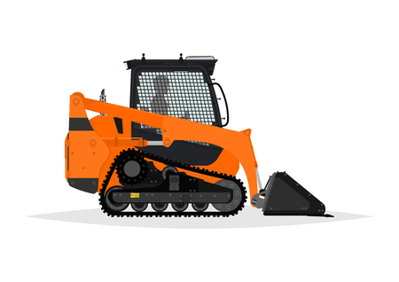 excavate: Compact track loader. Side view. Flat vector.