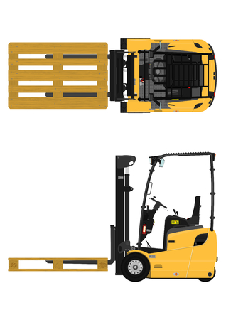 The plan view three-wheeled counterbalance forklift. Flat vector. Illustration