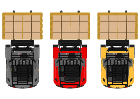 fork lifts trucks: The plan view three-wheeled counterbalance forklift. Flat vector. Illustration