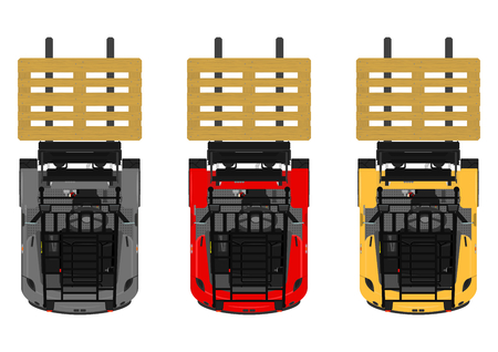 The plan view three-wheeled counterbalance forklift. Flat vector. Vettoriali