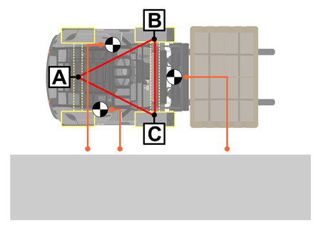Forklift stability triangle. Safety tips. Plan view. Flat vector. Stock Illustratie