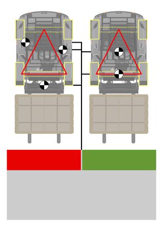 Triangle de stabilité du chariot élévateur. Conseils de sécurité. Vue en plan. Vecteur plat. Vecteurs