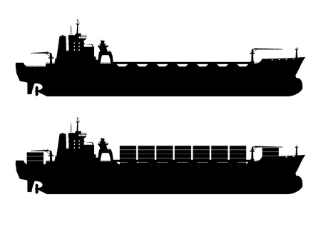 Silhouette of modern container ship. Flat vector.