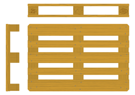 Euro pallet in three views. Flat vector.