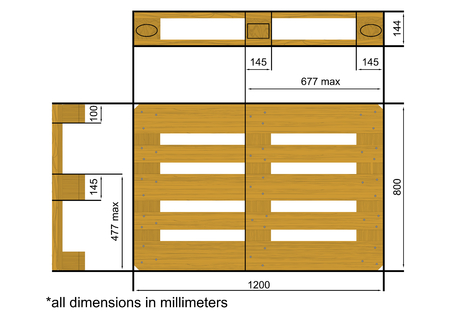 Plan view with dimensions of a euro pallet. Flat vector. Illustration