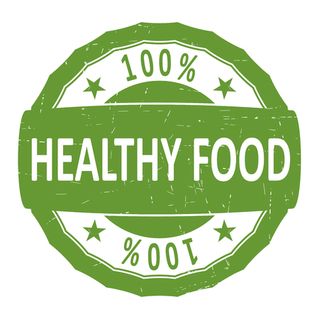 Healthy food rubber stamp. Flat vector.