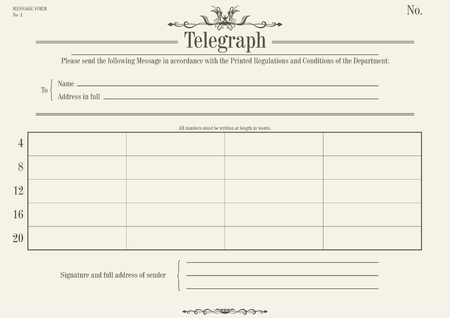 Vintage telegraph form. Flat vector. Base for further editing.
