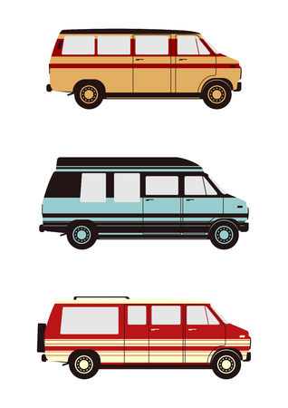 Camper. Full sized conversion van from seventies. Side view. Flat vector.