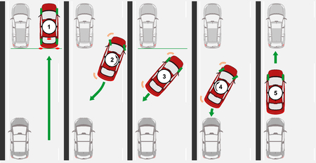 Achteruit parallel parkeren. Platte vector.