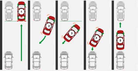 Reverse parallel parking. Flat vector. Banco de Imagens - 87467887