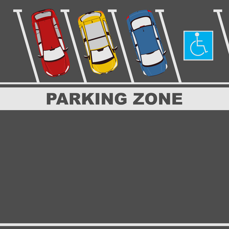 Illustration of cars in the parking lot. Place for any text. Flat vector.