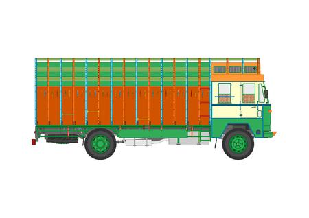 Classic Indian jingle truck. Flat vector.