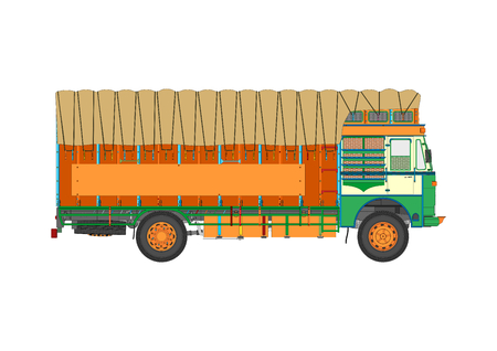 Classic Indian jingle truck. Flat vector.