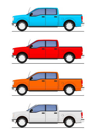 Set of pickup trucks in four colors.Flat vector.