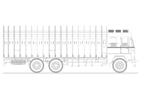 Coloring page of classic Indian truck. Plan view of jingle truck. Flat vector.
