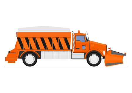Cartoon snow plow and salt spreader. Flat vector. Vectores