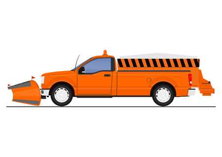 Cartoon snow plow and salt spreader. Flat vector. Illustration