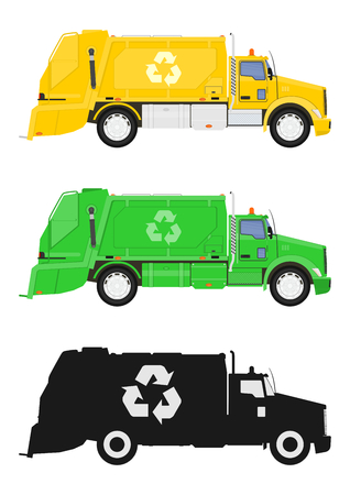 A set of three garbage truck. Side view. Flat vector.