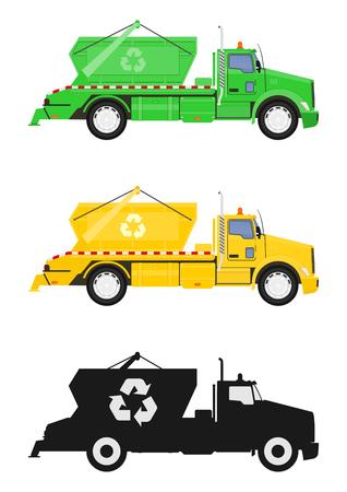 Un conjunto de tres camiones de volteo. Vista lateral. Vector plano. Ilustración de vector