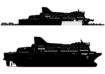 Silhouette of a modern ferryboat. Side view.Flat vector in two colors.