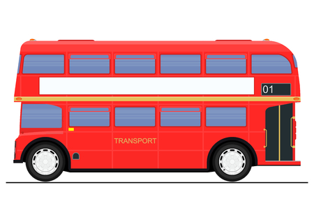 Cartoon red double decker bus. Side view. Flat vector.