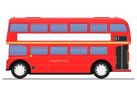 Cartoon red double decker bus. Side view. Flat vector.