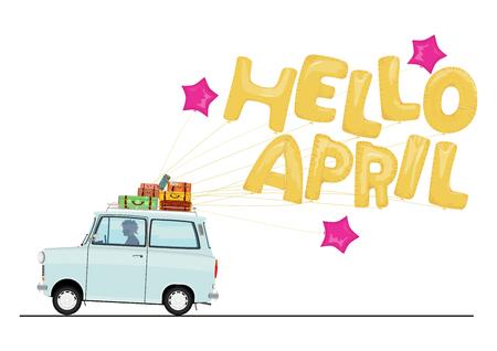 Cartoon car with a balloon slogan Hello April. Flat vector.
