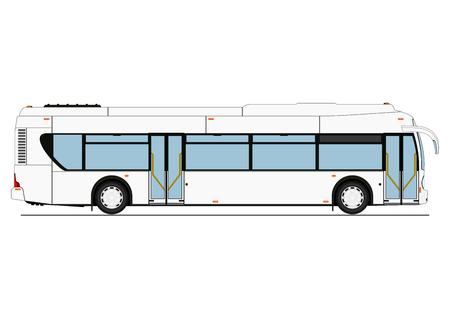 Autobus a pianale ribassato della città dei cartoni animati. Vista laterale. Vettore piatto. Vettoriali