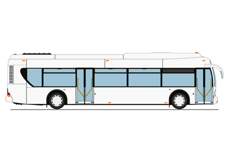 Cartoon city low-floor bus. Side view. Flat vector.