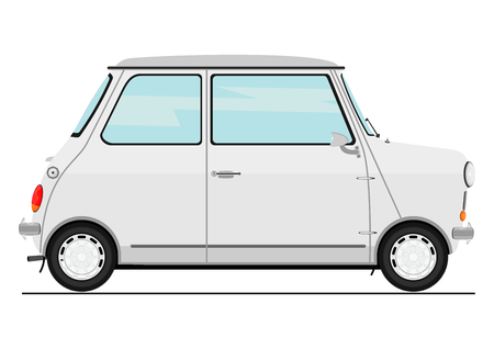 Cartoon retro auto. Zijaanzicht platte vector.