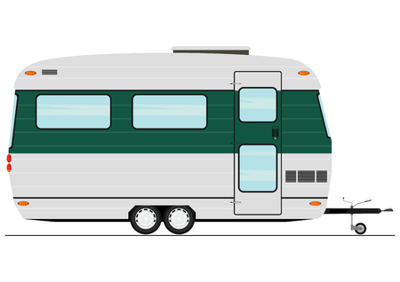 Cartoon caravan. Side view. Flat vector. Vectores