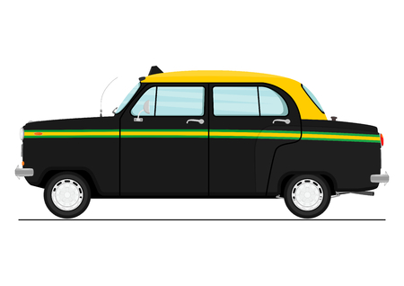 Cartoon Indian taxicab. 矢量图像