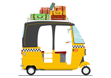 Exotische Karikaturdreirad-Tuk-Tuk-Rikscha des flachen Vektors. Seitenansicht des Transportfahrzeugs.