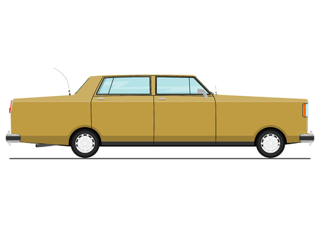 Cartoon sedan. Side view. Flat vector. Illustration