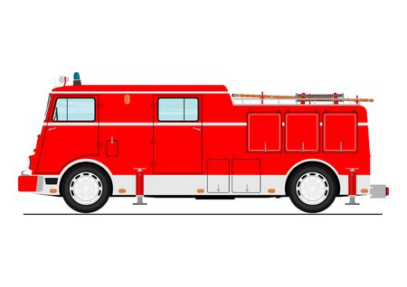Cartoon classic fire truck. Side view. Flat vector.