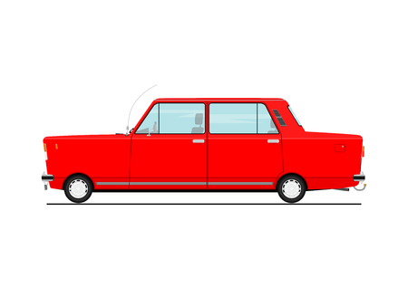 Cartoon car  Side view. Flat Vector illustration isolated on white background. Çizim