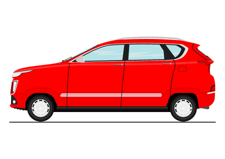Cartoon modern SUV car. Side view. Flat vector. Ilustracja