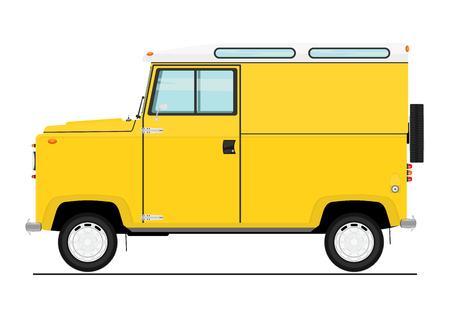 Retro cartoon off-road car. Side view. Flat vector.