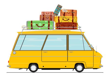 Cartoon retro minibus. Side view. Flat vector.
