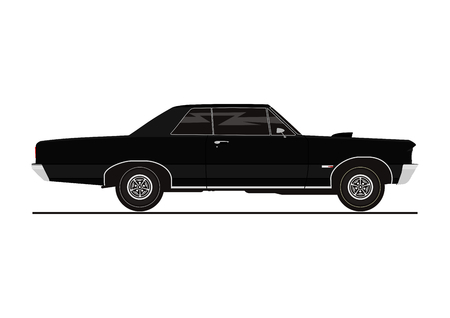 Retro car in side view illustration.